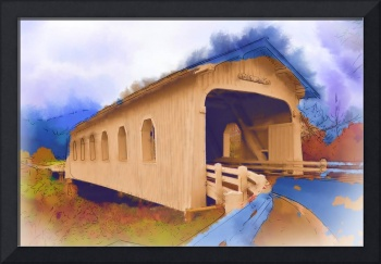 Grave Creek Covered Bridge In Watercolor