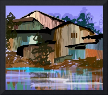 Digital painting of house in colour background
