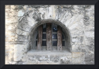 Window in the wall of the fort at the Alamo