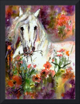 White Stallion Original Painting by Ginette