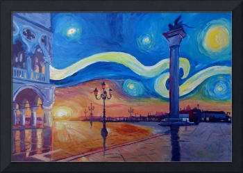 Starry Night in Venice Italy San Marco with Lion