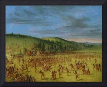 George Catlin~Ball-play of the Choctaw--Ball Up