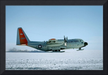 Hercules Aircraft Equipped with Snow Skis