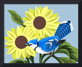 Blue Jay With Sunflowers