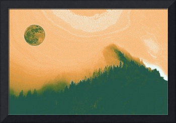 Full moon over arctic pine forest 2