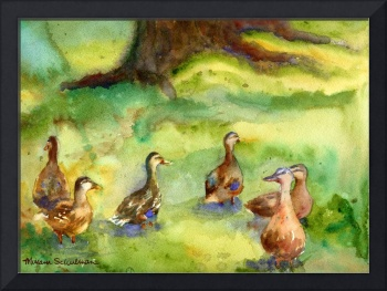 Duck Meadow, Animal Art, Watercolor Painting
