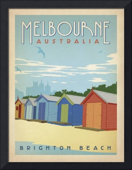 Brighton Beach, Melbourne Retro Travel Poster