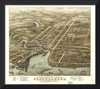 Vintage Pictorial Map of Plattsburgh NY (1877)