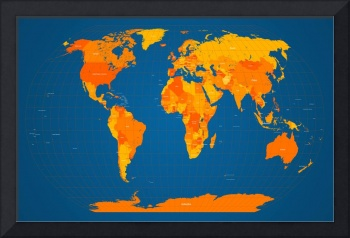 World Map in Orange and Blue