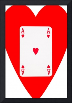 Playing Cards Ace of Hearts on White Background