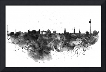 Berlin Watercolor Skyline Black and White