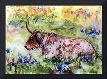 Texas Longhorn In Bluebonnets Watercolor