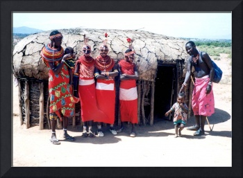 Masai outside their home