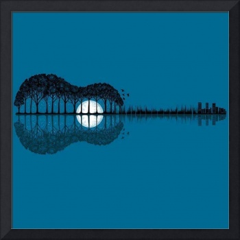 Trees sea and the moon turned guitar