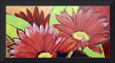 Painted Daisies in Red
