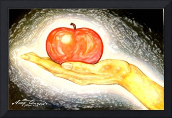 apple in hand stained glass