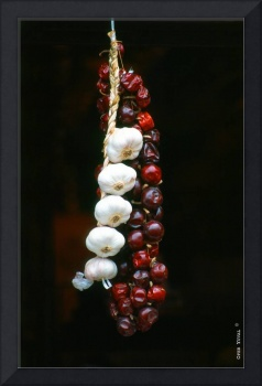 Garlic and Hot Pepper hanging for sale