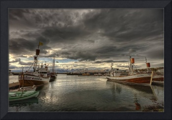 Dramatic Clouds Over Husavik Harbour, Northern Ice