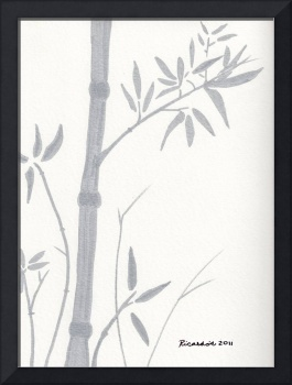 Zen Sumi Bamboo 1a Ink on Watercolor Paper by Rica