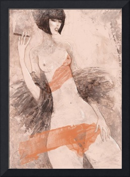 After party - sensual fashion painting of a woman