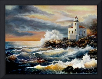 coquille Oregon lighthousunder stormy sky
