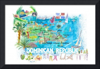 Dominican Republic  Illustrated  Travel  Map  with