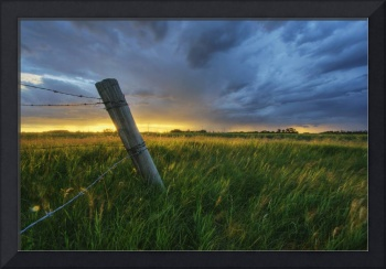 Summer Thunderstorm And Fencepost, Alberta, Canada