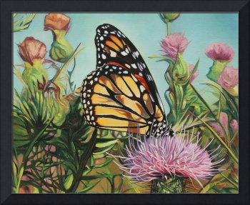 Original oil painting monarch butterfly