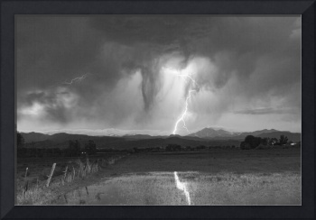 Lightning Striking Longs Peak Foothills 3BW