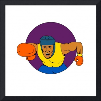 Amateur Boxer Punching Circle Drawing