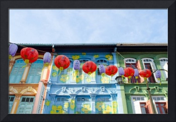Singapore China Town Buildings and Lanterns