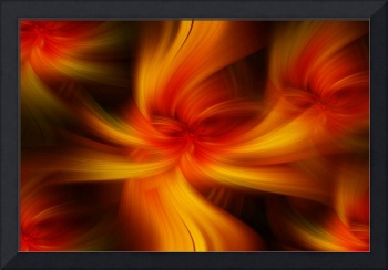 Orange Yellow Abstract  Flaming Art