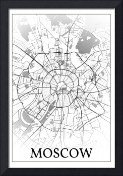 Moscow, Russia, city map print.