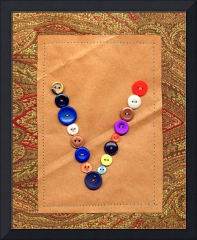 Letter V with Vintage Buttons and Brown Paper Bag