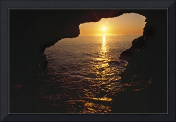 View Of Ocean Sunrise From Inside Anenome Cave