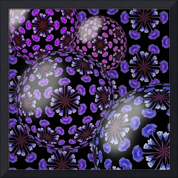 Purple and Blue Flower Spheres