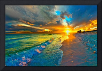 Sunset Seascape Art Print Blue Beach Landscape