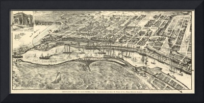 1905 San Pedro, CA Bird's Eye View Panoramic Map