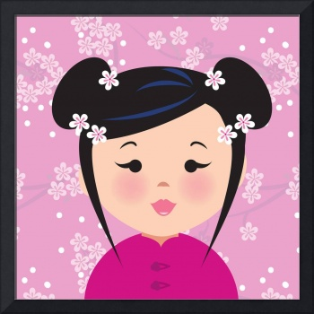 Asian Girl with Cherry Blossoms in Hair