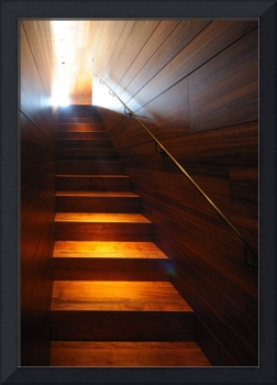 Wooden Staircase illuminated