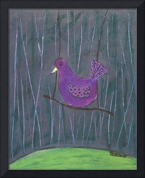 birdcage cover over purple bird in front of wall
