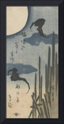 Hiroshige~Bats in Moonlight