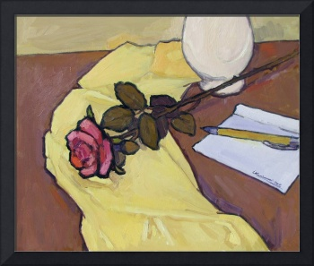 The Rose on Yellow Tablecloth