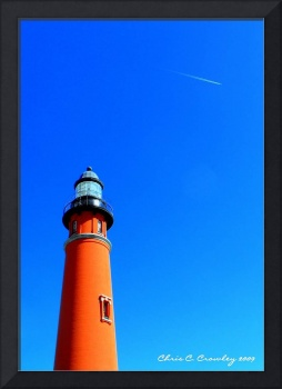 Lighthouse and Jet Trail