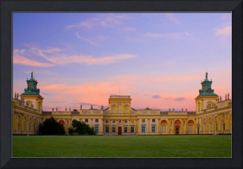 Romantic sunset over beautiful palace