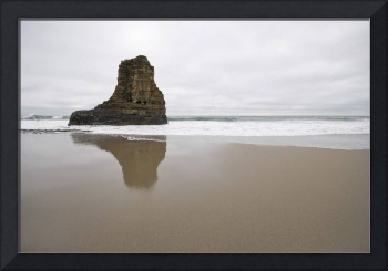 Beach Rock Reflection - ocean seascape