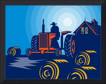 farmer on tractor bales of hay