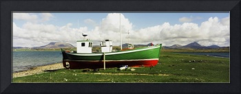 Boat Docked On Shore, County Donegal, Ireland