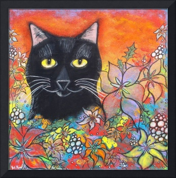 Black Cat and Flowers