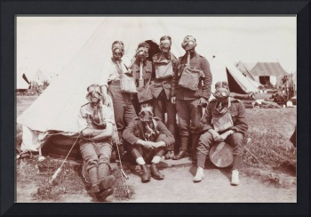 Soldiers in Gasmasks by Tent WWI